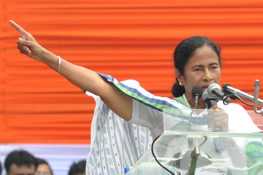 Kolkata: West Bengal Chief Minister and Trinamool Congress supremo Mamata Banerjee addresses during party's annual Martyrs' Day rally organised in memory of the 13 youths who were killed in police firing on this day in 1993; in Kolkata on May 21, 2017. (Photo: IANS) by .