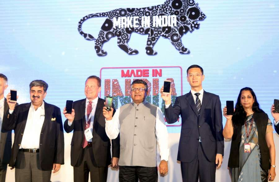 New Delhi: Union Information & Technology Minister Ravi Shankar Prasad with Huawei India CEO Jay Chen and others during a programme organised to announce Huawei-Flex collaboration to manufacture smartphones in India, in New Delhi on Sept 23, 2016. (Photo: IANS) by .