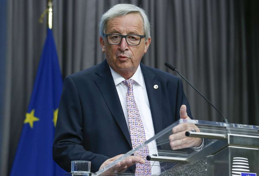 Brussels: EU Commission President Jean-Claude Juncker speaks during a joint press briefing at the end of a two-days EU Summit in Brussels, Belgium, June 23, 2017. (Xinhua/Ye Pingfan/IANS) by .