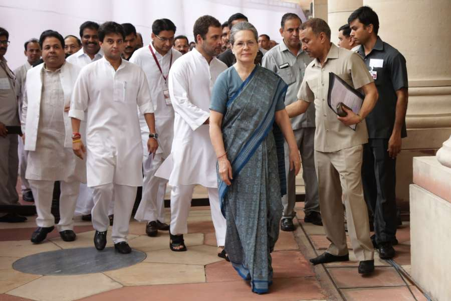 New Delhi: Congress chief Sonia Gandhi arrives at Parliament to cast her vote during presidential polls in New Delhi, on July 17, 2017. (Photo: Amlan Paliwal/IANS) by .