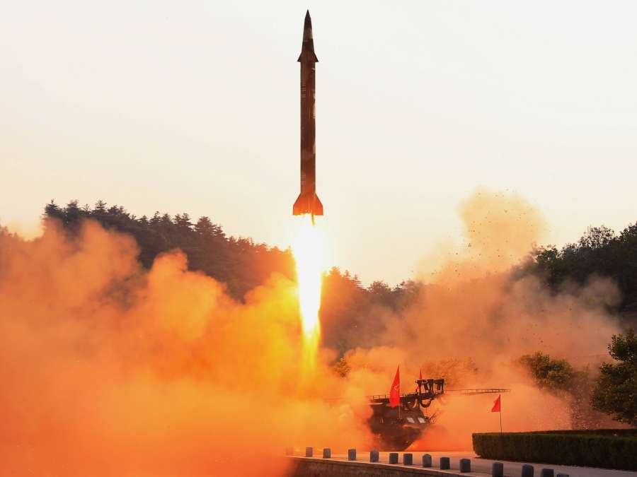 This photo, released by North Korea's official Korean Central News Agency on May 30, 2017, shows a ballistic missile being launched. The North's leader Kim Jong-un observed the missile test and expressed satisfaction with the performance of the ballistic missile controlled by a precision guidance system, according to North Korean media. The North launched a Scud-type short-range missile early in the morning on May 29 from its east coast that flew around 450 kilometers, according to the South Korean and U.S. militaries. (For Use Only in the Republic of Korea. No Redistribution) (Yonhap/IANS) by .