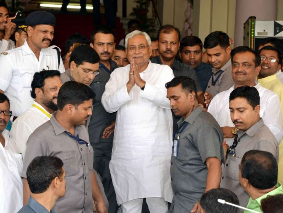 Patna: Bihar Chief Minister Nitish Kumar comes out of the state assembly after winning the trust vote in Patna on July 28, 2017. (Photo: IANS) by .