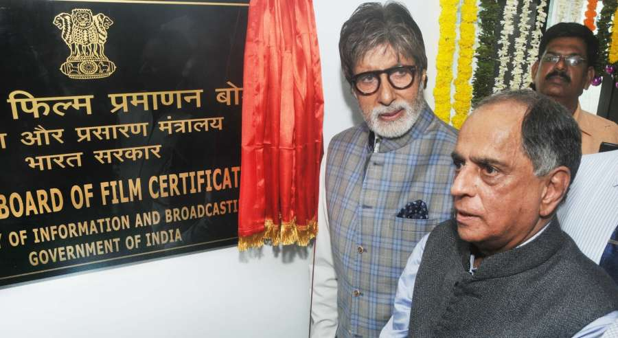Mumbai: Actor Amitabh Bachchan and CBFC chairman Pahlaj Nihalani during inauguration of new office premise of the Central Board of Film Certification in Mumbai on April 4, 2017. (Photo: IANS) by .