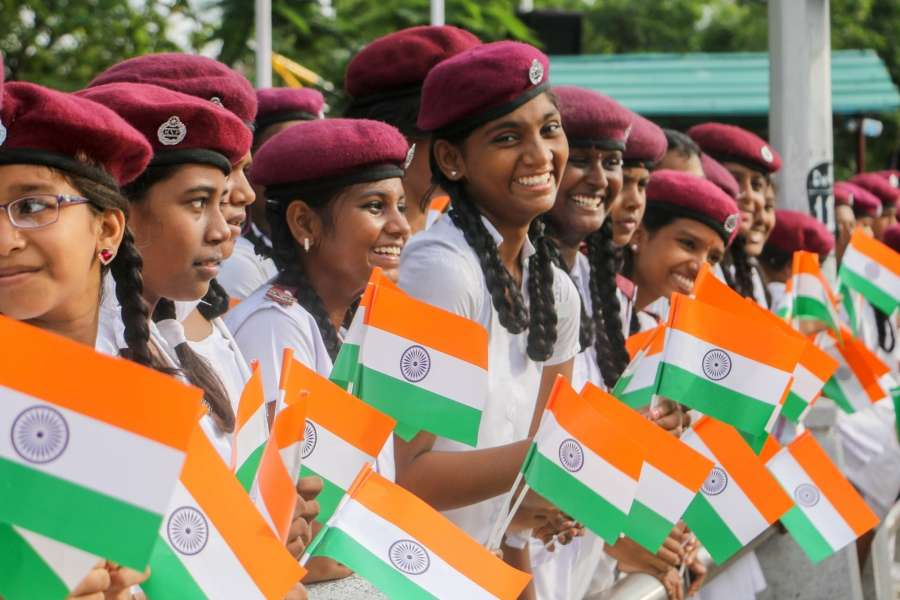 Chennai: Children hold the national flag on the 71st Independence Day celebration in Chennai on Aug 15, 2017. (Photo: IANS) by .