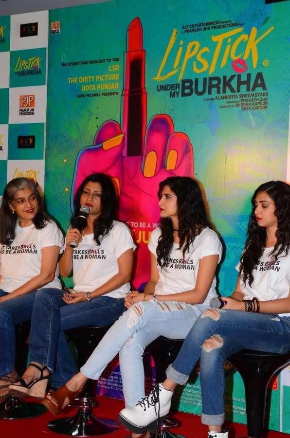 "Mumbai: Actors Konkona Sensharma, Ratna Pathak Shah, Aahana Kumra and Plabita Borthakur during the trailer launch of upcoming film ""Lipstick Under My Burkha"", in Mumbai on June 27, 2017. (Photo: IANS) by ."