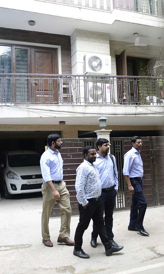 New Delhi: Income Tax (IT) sleuths conduct raids at Karnataka Power Minister D.K. Shivakumar's residence in New Delhi, on Aug 2, 2017. (Photo: IANS) by .