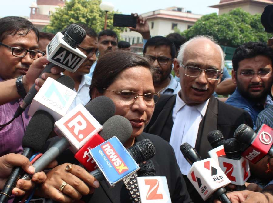 """New Delhi: Supreme Court lawyer fighting against the provision of triple talaq Farha Faiz talks to the press after the court's hearing on Triple Talaq in New Delhi on Aug 22, 2017. The Supreme Court struck down the practice of Triple Talaq terming it """"unconstitutional"""", """"arbitrary"""" and """"not part of Islam."""" (Photo: IANS) by ."""