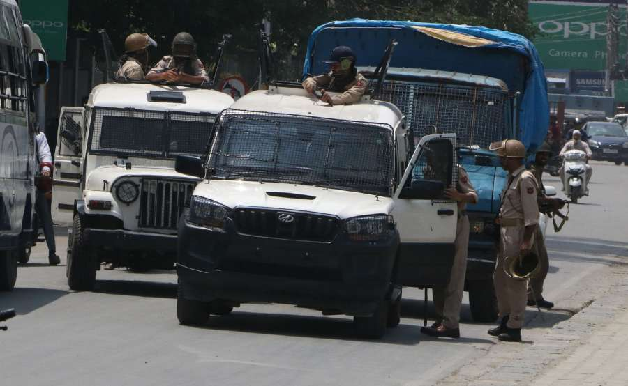 Srinagar: Security beefed up in Srinagar after a top Pakistani militant who carried a reward of Rs 15 lakh on his head was killed along with a local associate in fighting with security forces on Aug 1, 2017. (Photo: IANS) by .