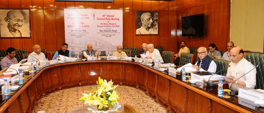 New Delhi: Union Home Minister Rajnath Singh chairs the 42nd Annual General Body Meeting of the Nehru Memorial Museum and Library Society in New Delhi on Aug 22, 2017. (Photo: IANS/PIB) by .