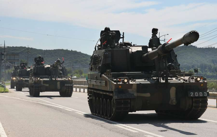 A group of K-9 self-propelled howitzers are moved near the inter-Korean border in Paju, north of Seoul, on Aug. 29, 2017, after North Korea fired an intermediate ballistic missile over northern Japan into the sea earlier in the day. (Yonhap/IANS) by .