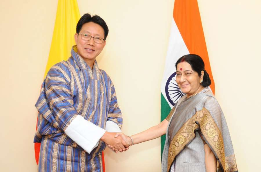 Kathmandu: External Affairs Minister Sushma Swaraj holds bilateral meeting with Bhutan's Foreign Minister Damcho Dorji on the sidelines of 15th BIMSTEC Ministerial Meeting in Kathmandu on Aug 10, 2017. (Photo: IANS/MEA) by .