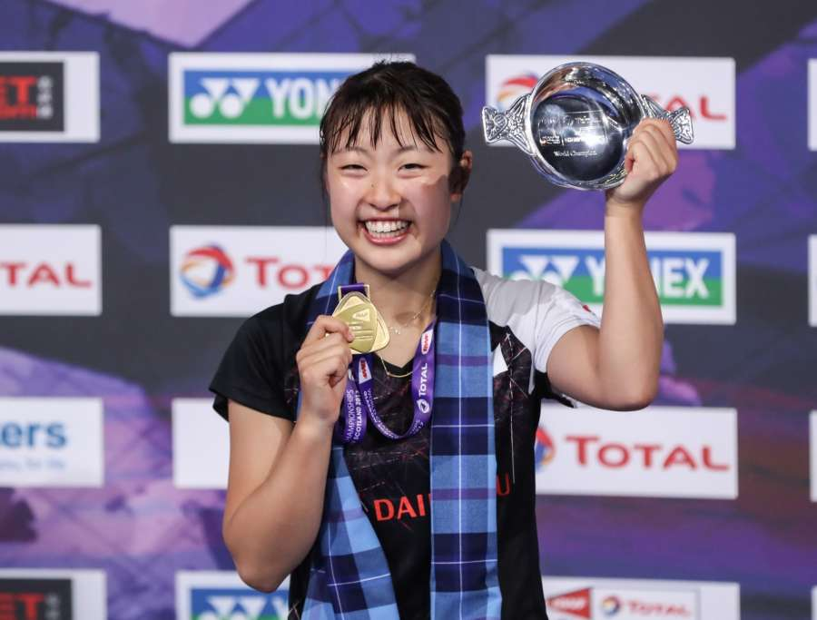 GLASGOW, Aug. 28, 2017 (Xinhua) -- Nozomi Okuhara of Japan poses during the awarding ceremony after the women's singles final against Pusarla V. Sindhu of India at BWF Badminton World Championships 2017 in Glasgow, Britain, on Aug. 27, 2017. Nozomi Okuhara won 2-1. (Xinhua/Shang Yuqi) by .