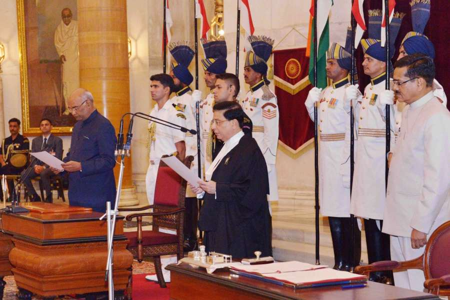New Delhi: President Ram Nath Kovind administering the oath of office to Justice Dipak Misra as Chief Justice of India at the Swearing-In-Ceremony in Rashtrapati Bhavan on Aug. 28, 2017. (Photo: IANS/RB) by .