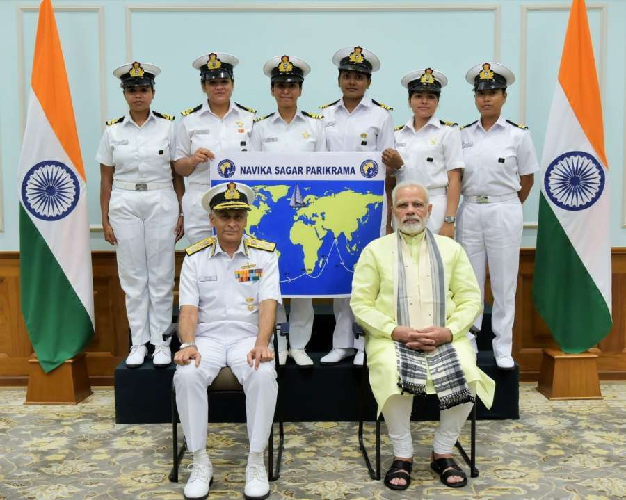 New Delhi: Prime Minister Narendra Modi with the six women officers of the Indian Navy who are due to circumnavigate the globe on the sailing vessel INSV Tarini in New Delhi on Aug 16, 2017. Also seen Chief of Naval Staff, Admiral Sunil Lanba. (Photo: IANS/PIB) by .