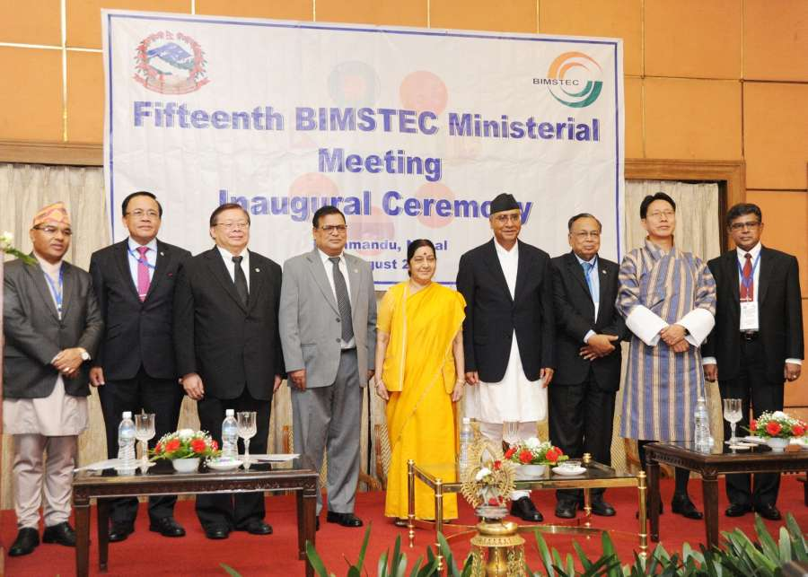 Kathmandu: External Affairs Minister Sushma Swaraj during the inaugural session of 15th BIMSTEC Ministerial Meeting in Kathmandu on Aug 10, 2017. Also seen Nepal Prime Minister Sher Bahadur Deuba. (Photo: IANS/MEA) by .