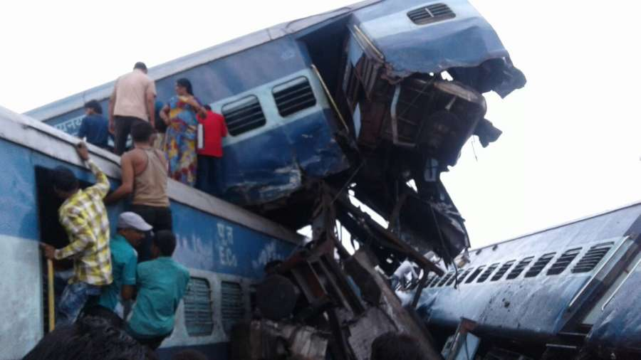 Muzaffarnagar: The bogies of Kalinga-Utkal Express that derailed near Khatauli in Muzaffarnagar district of Uttar Pradesh on Aug 19, 2017. At least 20 people were injured. (Photo: IANS) by .