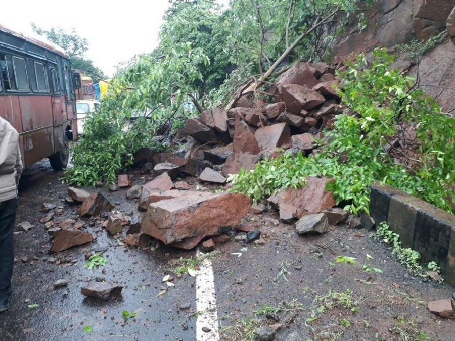 Kasara Ghat (Maharashtra): The site of landslide on Mumbai Nashik Highway near Kasara Ghat, Maharashtra on July 16, 2017. (Photo: IANS) by .