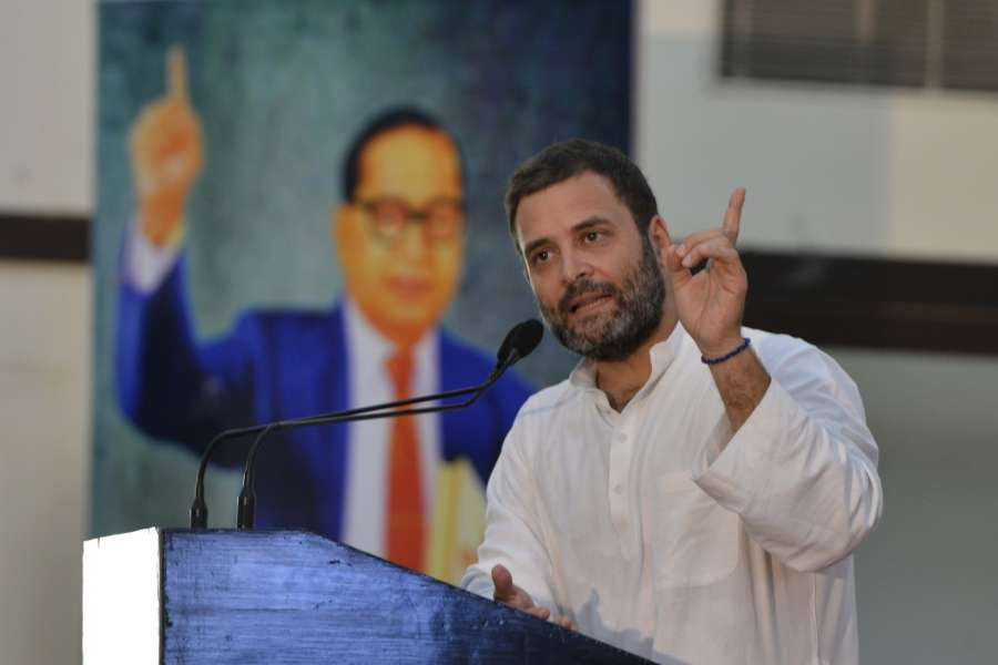 New Delhi: Congress Vice President Rahul Gandhi addresses during 'Sajha Virasat Bachao' (Save Composite Culture) conference in New Delhi on Aug 17, 2017. (Photo: IANS) by .