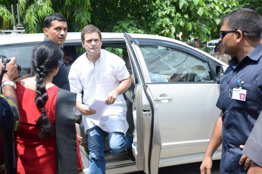 Lucknow: Congress vice president Rahul Gandhi arrives to meet officials of the National Highways Authority of India (NHAI) regarding compensation to the villagers whose land were acquired for a highway project, in Lucknow on Aug 1, 2017. (Photo: IANS) by .