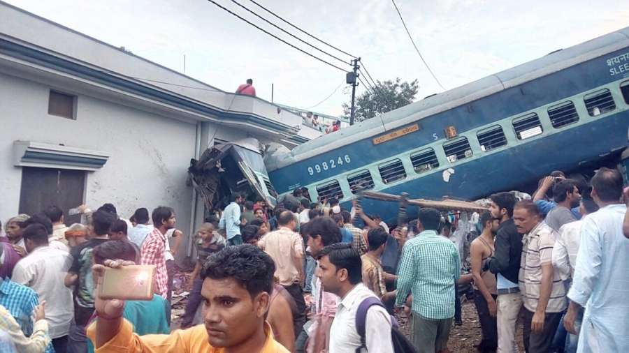 Muzaffarnagar: The bogies of Kalinga-Utkal Express that derailed near Khatauli in Muzaffarnagar district of Uttar Pradesh on Aug 19, 2017. At least thirteen people have died, and 58 injured people have been admitted to hospital. (Photo: IANS) by .