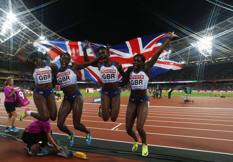 LONDON, Aug. 13, 2017 -- Athletes of the Britain celebrate after winning the women's 4x100m relay final on Day 9 at the IAAF World Championships 2017 in London, Britain on Aug. 12, 2017. Team of Britain took the silver medal with 42.12 seconds. (Xinhua/Han Yan/IANS) by .
