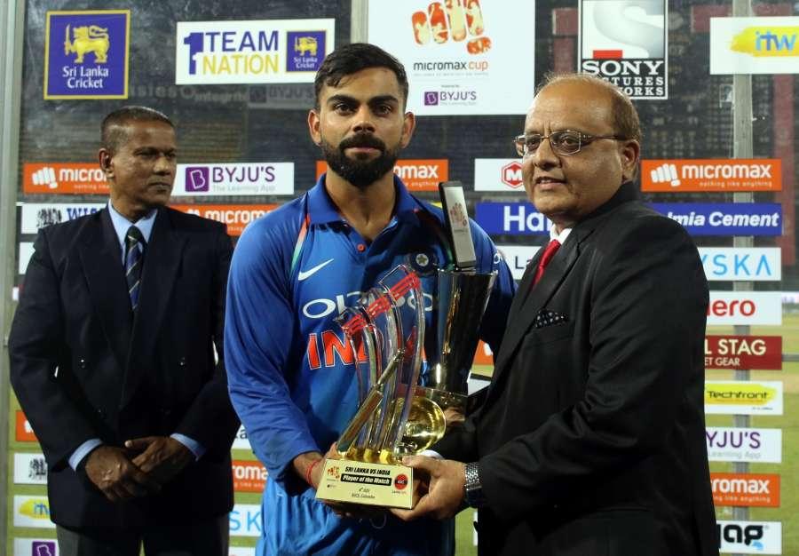Colombo: Indian skipper Virat Kohli player of the match during the fourth ODI match between India and Sri Lanka at R.Premadasa Stadium in Colombo, Sri Lanka on Aug 31, 2017. (Photo: Surjeet Yadav/IANS) by .