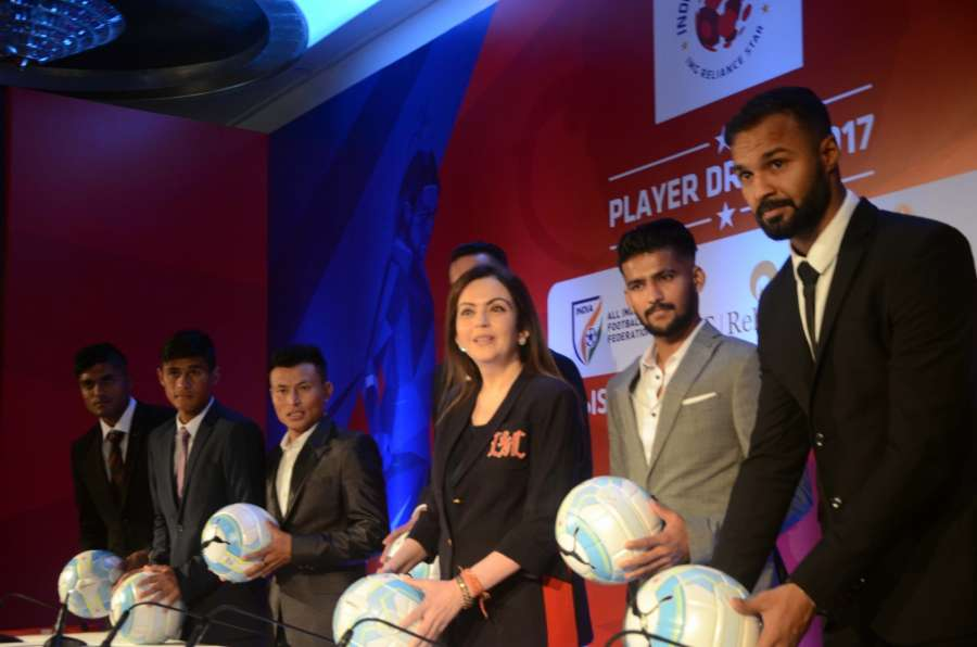 Mumbai: Indian Super League (ISL) Founding Chairperson Nita Ambani with footballers during the ISL 2017 Player Draft in Mumbai, on July 23, 2017. (Photo: IANS) by .