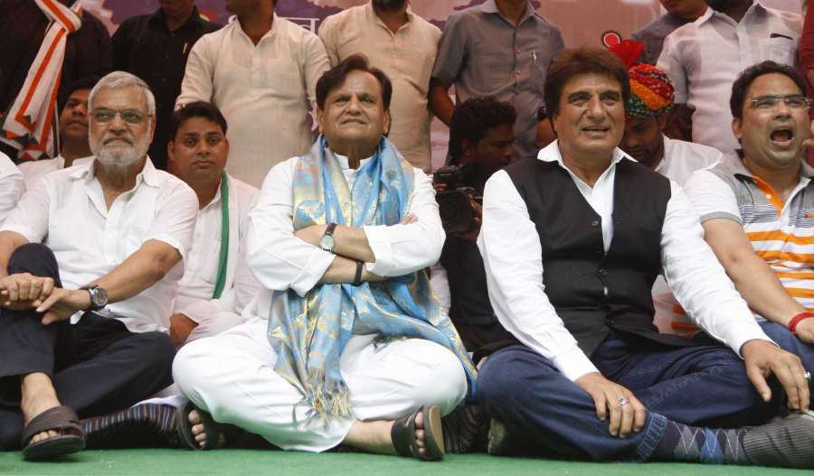 New Delhi: Congress leaders Ahmed Patel and Raj Babbar during a protest against Union Government in New Delhi on Aug 10, 2017. (Photo: IANS) by .
