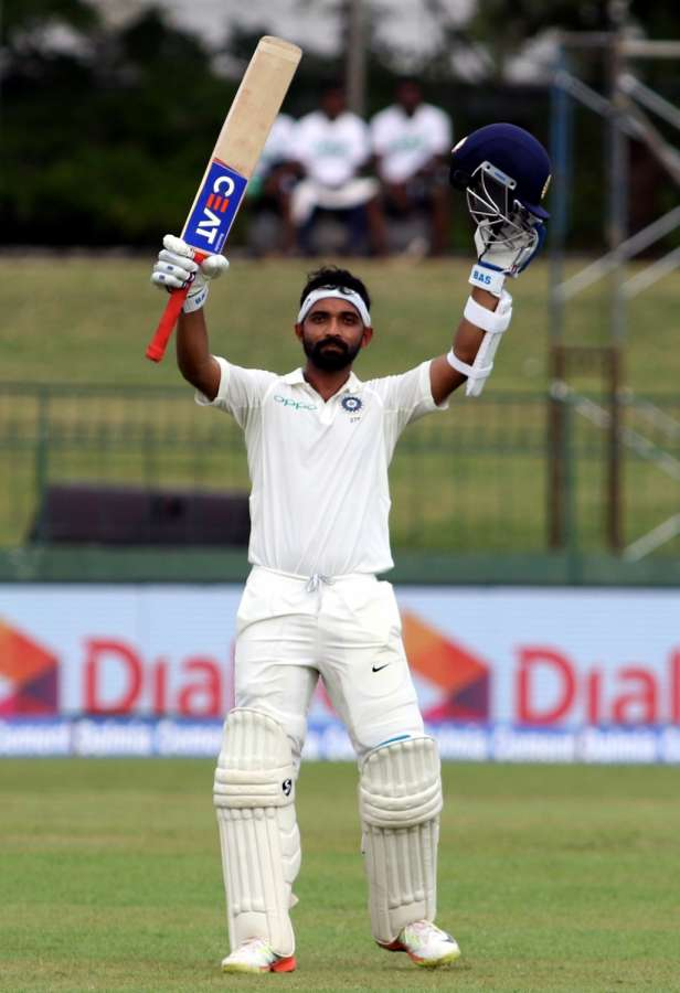 Colombo: India's Ajinkaya Rahane celebrates his century on Day 1 of the second test match between India and Sri Lanka at Sinhalese Sports Club Ground in Colombo, Sri Lanka on Aug 3, 2017. (Photo: Surjeet Yadav/IANS) by .