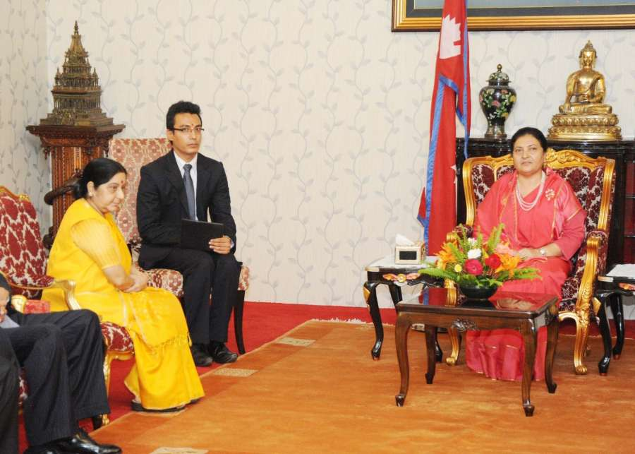 Kathmandu: External Affairs Minister Sushma Swaraj calls on Nepal President Bidya Devi Bhandari in Kathmandu on Aug 10, 2017. (Photo: IANS/MEA) by .