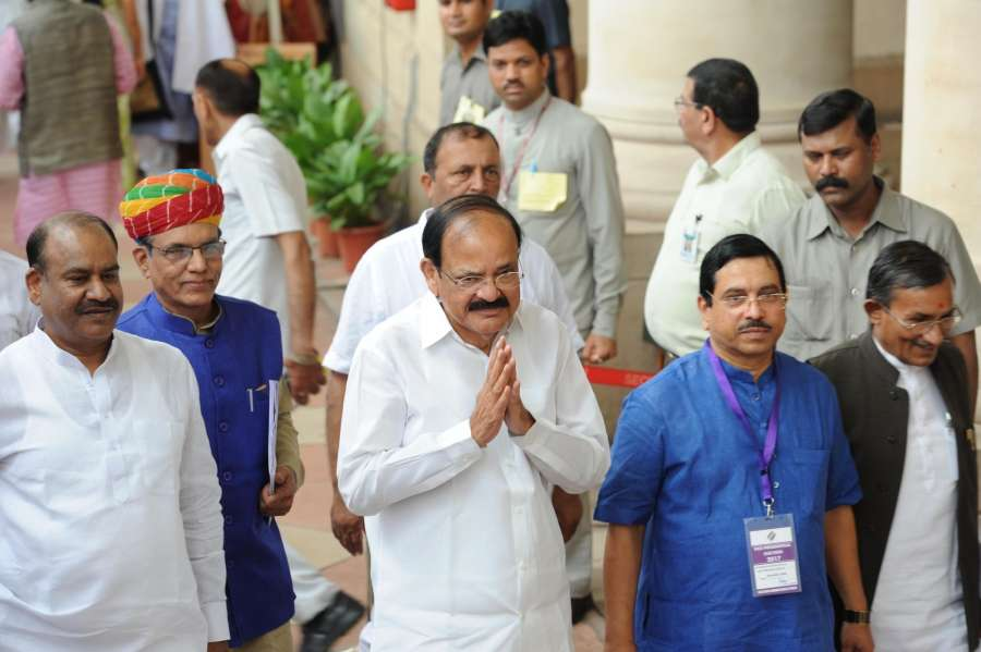 New Delhi: NDA's vice presidential candidate Venkaiah Naidu during the vice presidential election at Parliament in New Delhi on Aug 5, 2017. (Photo: IANS) by .
