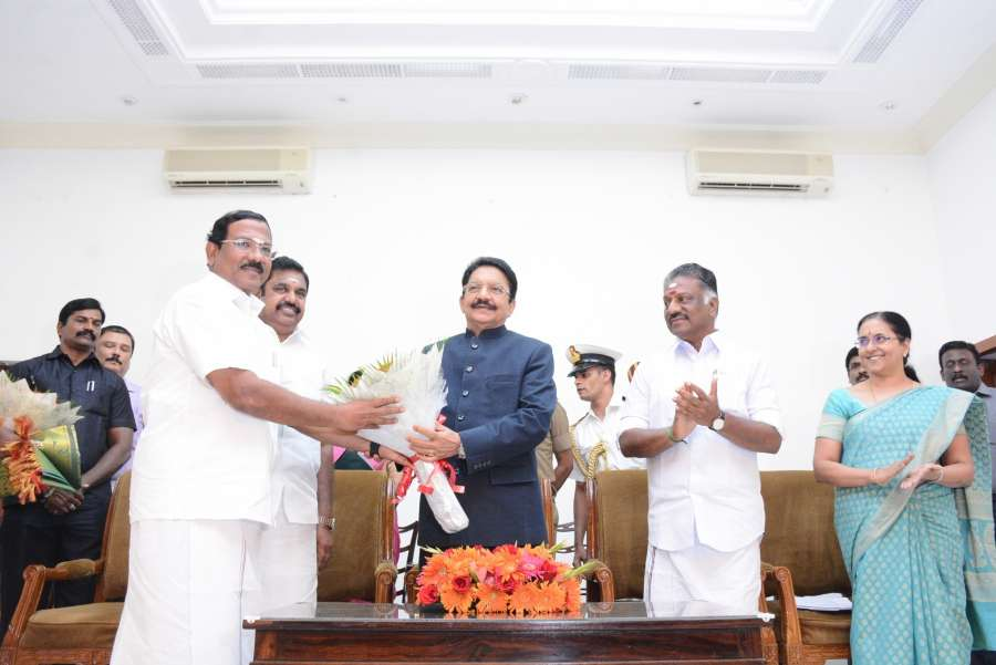 Chennai: Tamil Nadu Chief Minister Edappadi K. Palaniswami,Tamil Nadu governor C. Vidyasagar Rao at the swearing in ceremony of O. Panneerselvam as the Deputy Chief Minister of the state in Chennai on Aug 21, 2017. (Photo: IANS) by .