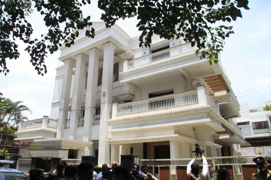 Bengaluru: Police personnel outside the residence of Karnataka Energy Minister DK Shivakumar during the Income Tax department raids in Bengaluru on Aug 2, 2017. (Photo: IANS) by .