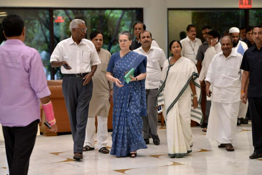 New Delhi: Congress President Sonia Gandhi along with Congress leaders Ahmed Patel, A.K. Antony, Trinamool Congress supremo and West Bengal Chief Minister Mamata Banerjee and CPI national secretary D Raja during a meeting of opposition parties in New Delhi on Aug 11, 2017. (Photo: IANS) by .