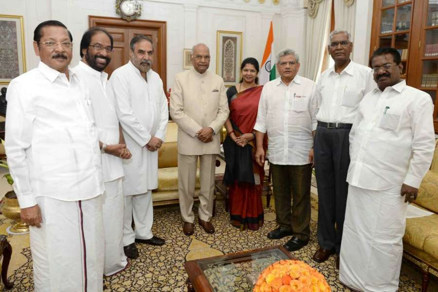 New Delhi: CPI-M General Secretary Sitaram Yechury, DMK MP Kanimozhi, CPI MP D. Raja and Congress MP Anand Sharma call on President Ram Nath Kovind at Rashtrapati Bhavan in New Delhi on Aug 31, 2017. The delegation urged the President to ensure that a floor test is conducted in the Tamil Nadu assembly so that the Edappadi Palaniswami government proves its majority. (Photo: IANS) by .