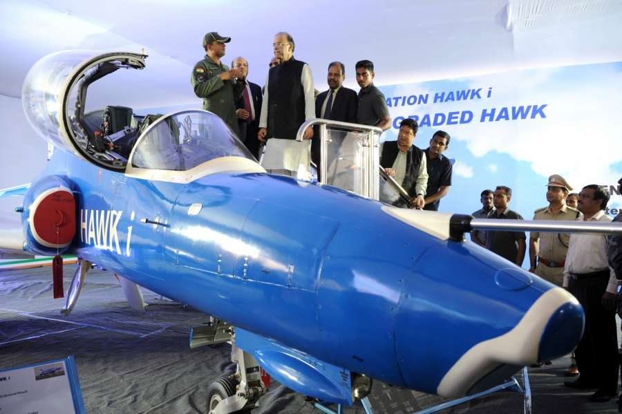 Bengaluru: Union Finance and Defence Minister Arun Jaitley during the launch of production of HAL designed 5.8 ton category Light Combat Helicopter and dedicate HAL's Hawk-i to the nation at HAL in Bengaluru on Aug 26, 2017. Also seen Defence Production Secretary and HAL Suvarna Chairman Raju Ashok Kumar Gupta. (Photo: IANS) by .