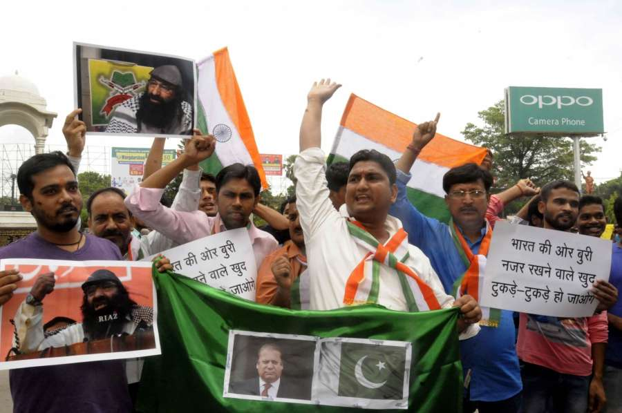Patna: People stage a demonstration against Hizbul Mujahideen leader Syed Salahuddin in Patna on July 4, 2017. (Photo: IANS) by .