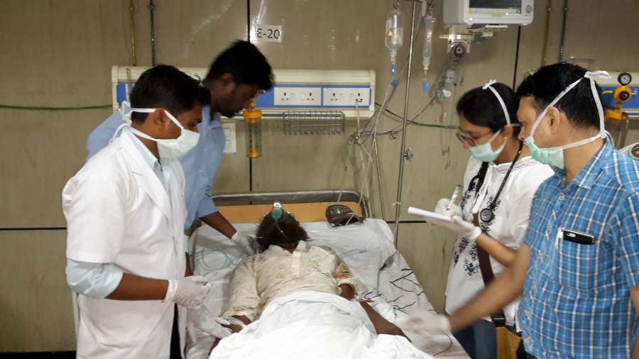 Meerut: Passengers of Kalinga-Utkal Express that derailed near Khatauli in Muzaffarnagar district of Uttar Pradesh being treated at a Meerut hospital on Aug 19, 2017. At least 23 people were killed and 400 injured in a major derailment when 14 coaches of the Kalinga Utkal Express bound for Haridwar in Uttarakhand went off the tracks with one of the coaches mounting on another. (Photo: IANS) by .