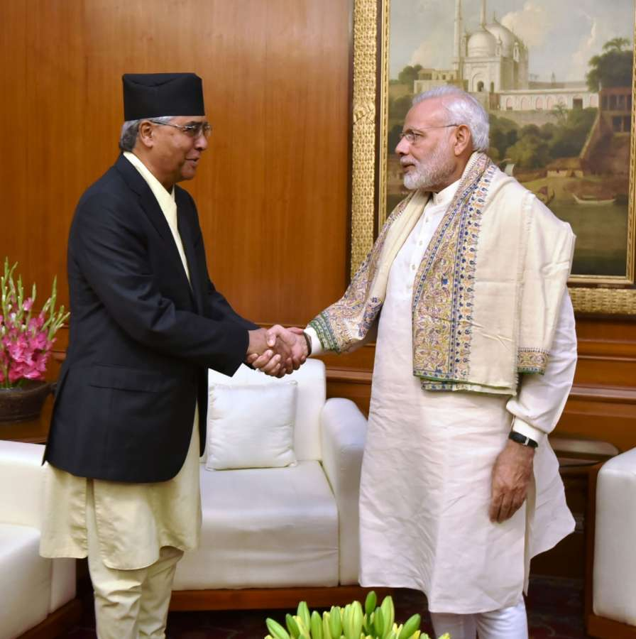 New Delhi: Former Prime Minister of Nepal and President of Nepali Congress Sher Bahadur Deuba calls on the Prime Minister Narendra Modi, in New Delhi on Nov 08, 2016. (Photo: IANS/PIB) by .