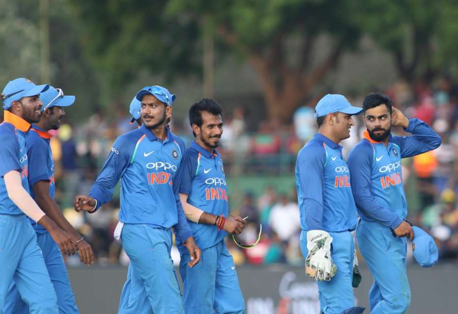 Dambulla: Indian skipper Virat Kohli and MS Dhoni during the first ODI International cricket match between India and Sri Lanka at Rangiri Dambulla International Stadium in Dambulla, Sri Lanka on Aug 20, 2017. (Photo: Surjeet Yadav/IANS) by .
