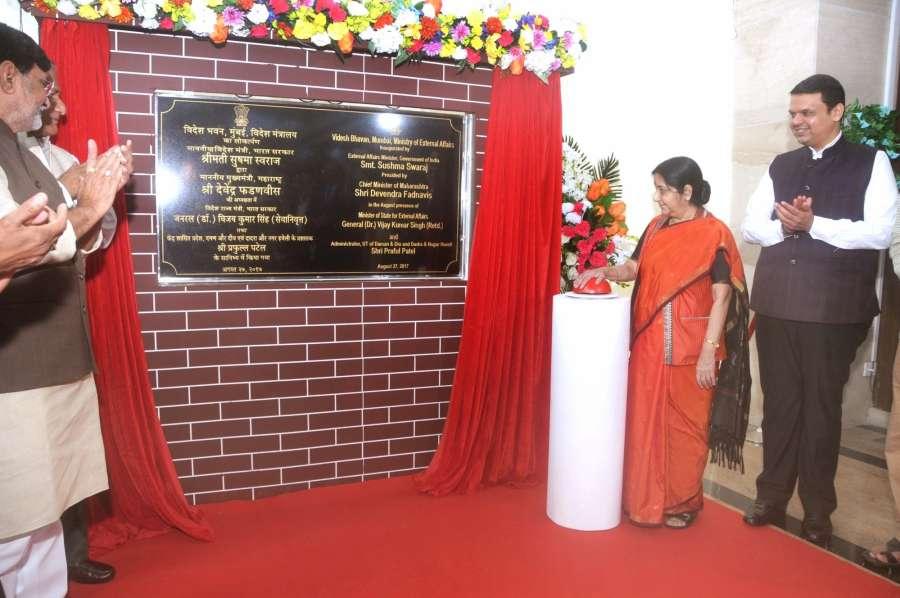 Mumbai: External Affairs Minister Sushma Swaraj along with Maharashtra Chief Minister Devendra Fadanavis unveil the plaque for Videsh Bhavan in Mumbai on Aug 27, 2017. (Photo: IANS) by .