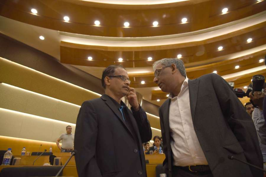 Bengaluru: Infosys' newly appointed interim CEO U B Pravin Rao along with Infosys co-chairman Ravi Venkatesan during Infosys' press conference in Bengaluru on Aug 18, 2017. (Photo: IANS) by .