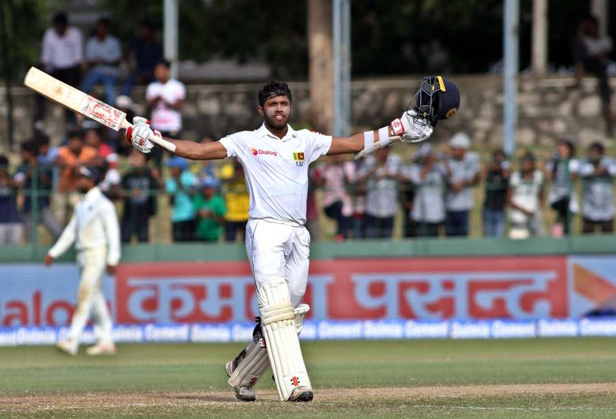 Colombo: Sri Lanka's Kusal Mendis celebrates his century on Day 3 of the second test match between India and Sri Lanka at Sinhalese Sports Club Ground in Colombo, Sri Lanka on Aug 5, 2017. (Photo: Surjeet Yadav/IANS) by .