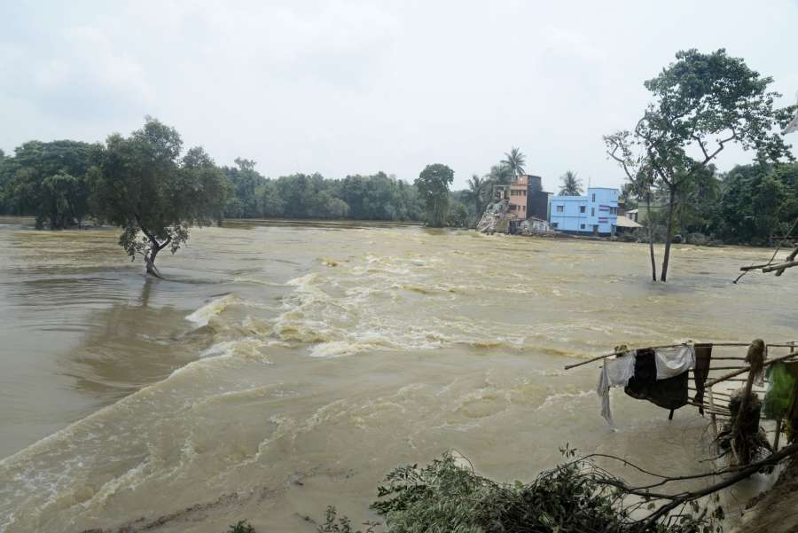 Ghatal: A view of flood-hit Ghatal in West Bengal's Paschim Medinipur district on July 31, 2017. (Photo: IANS) by .