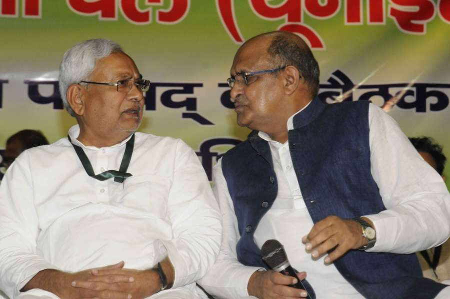 Patna: Bihar Chief Minister Nitish Kumar along with JD(U)'s Chief General Secretary and National Spokesperson K. C. Tyagi during the party's national executive meeting in Patna on Aug 19, 2017. (Photo: IANS) by .