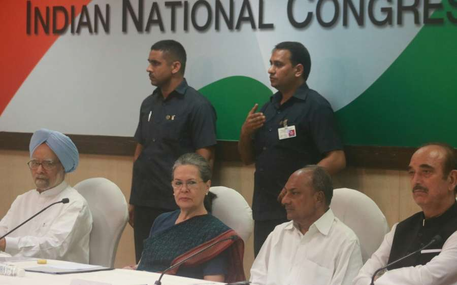 New Delhi: Congress President Sonia Gandhi along with Congress leaders Manmohan Singh, A.K. Antony and Ghulam Nabi Azad during Congress Working Committee meeting in New Delhi on Aug 8, 2017. (Photo: IANS) by .