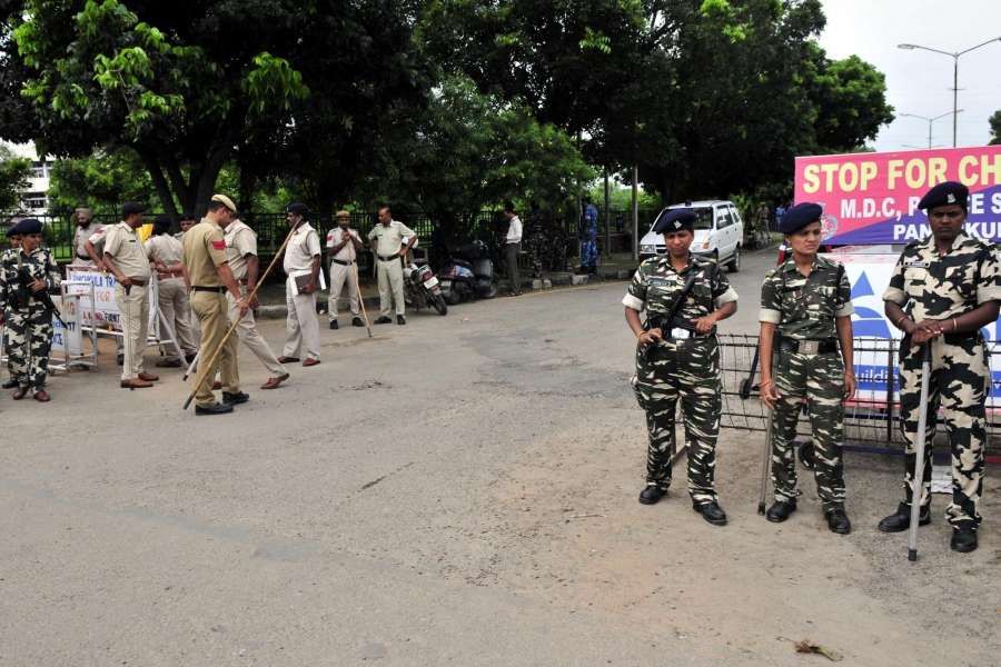 Panchkula: Security beefed up ahead of of the Aug 25 verdict of the CBI court in the rape case against Dera Sacha Sauda chief Gurmeet Ram Rahim Singh in Panchkula district of Haryana on Aug 23, 2017. (Photo: IANS) by .