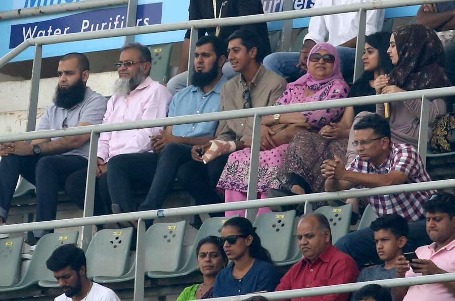Mumbai: Haseeb Hameed of England watches the fourth test match between India and England with his family at Wankhede Stadium in Mumbai, on Dec 9, 2016. (Photo: Surjeet Yadav/IANS) by .