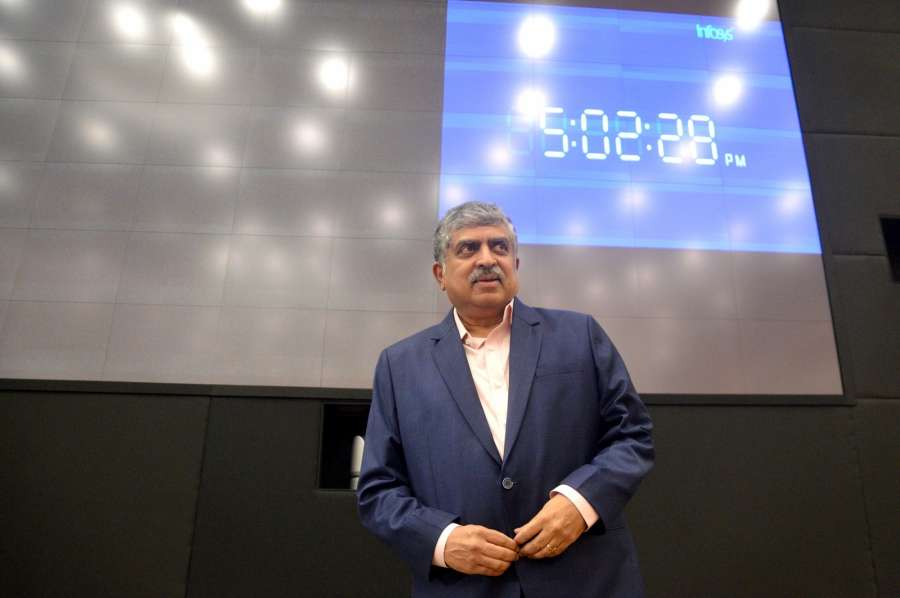 Bengaluru: Newly appointed Non Executive Chairman of Infosys Nandan Nilekani during a press conference of Infosys, in Bengaluru on Aug 25, 2017. (Photo: IANS) by .