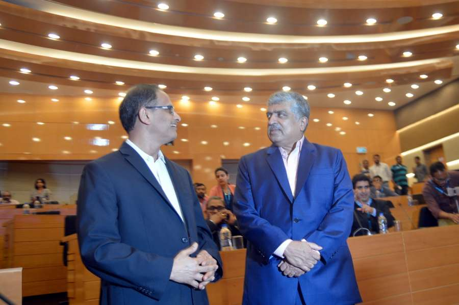 Bengaluru: Newly appointed Non Executive Chairman of Infosys Nandan Nilekani and interim CEO UB Pravin Rao during a press conference of Infosys, in Bengaluru on Aug 25, 2017. (Photo: IANS) by .